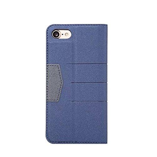 Hülle für iPhone 7 plus , Schutzhülle Für IPhone 7 Plus gemischte Farben glänzende funkelt Muster Magnetische Verschluss PU-lederne Kasten-Abdeckung mit Kickstand u. Kartenschlitz ,hülle für iPhone 7  Darkblue