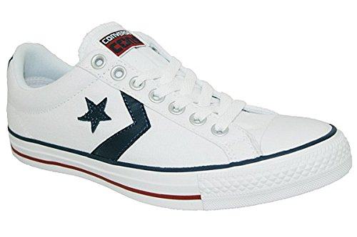 Converse Star Player Adulte Core Canvas Ox, Chaussures de Gymnastique Mixte Adulte - Blanc Cassé - Bianco (White White Navy), 41.5 EU