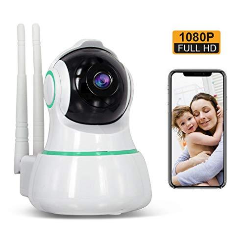 1080P WLAN IP Kamera, 3D Panorama Full HD WiFi Überwachungskamera mit IR Nachtsicht Bewegungserkennung, 2 Wege Audio Home Indoor Sicherheitskamera, Baby Monitor mit 128G SD Card Slot - weiß