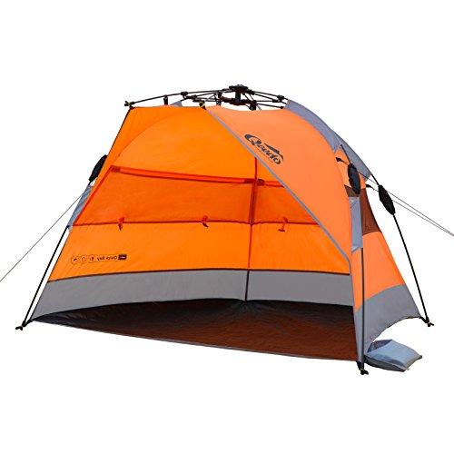 Qeedo Strandmuschel Quick Bay, Strandzelt mit UV-Schutz, Sonnenschutz und 360° Panorama View - orange - 3