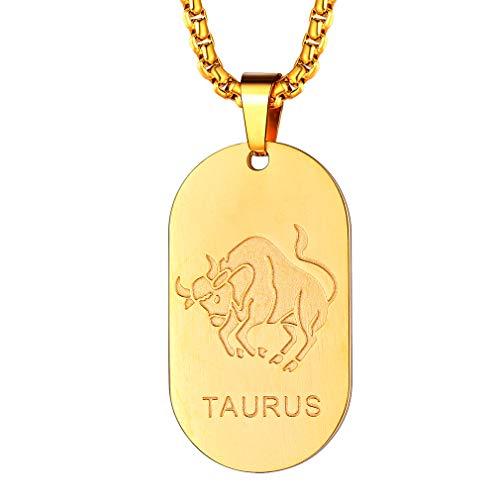 FaithHeart Dog Tag mit Gravur 12 Sternzeichen-Serie der Stier- Sternzeichen Anhänger Gelbgold Gold (18 Karat) Klein Tierkreiszeichen Horoskop Goldkette Halskette Kettenanhänger