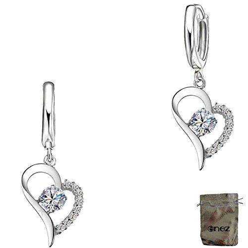 Original Enez Ohrringe Creolen Herz echt 925 Sterling Silber L:2,5cm B:1,5cm + Geschenkbeutel R2160