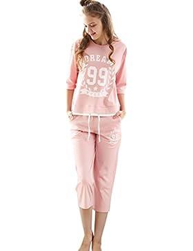 Le magliette delle ragazze dei pantaloni del pigiama puro del cotone due pezzi hanno regolato i vestiti domestici...