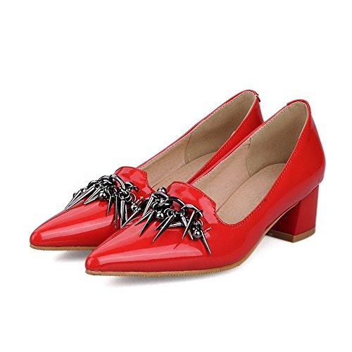 AgooLar Damen Rund Zehe Mittler Absatz PU Ziehen auf Stiefel, Rot, 40
