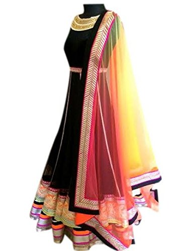Pramukh Enteprise Heavy Designer Black Gown With Multi Color Border Lace Work