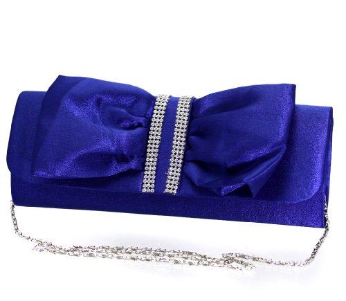 Damen Handtasche Clutch mit edlem Schlaufen Muster in verschiedenen eleganten Farben (ML820-Blau) (1920er Jahre Frauen Schuhe)