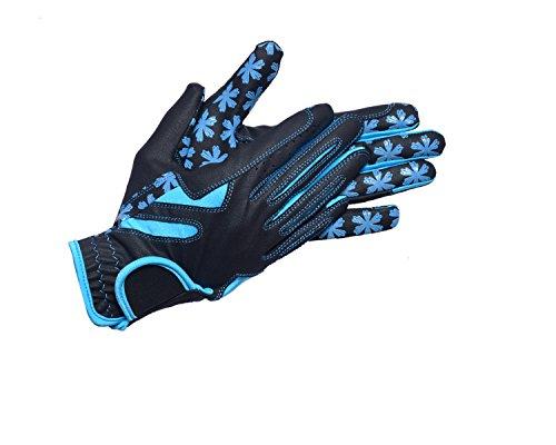 Riders Trend Reithandschuhe, Unisex, Dressage Horse Stretchable Serino/Lycra/Silicon, schwarz/blau, XL