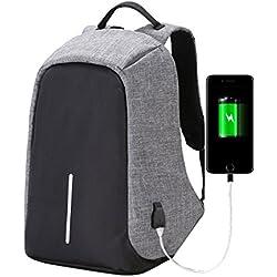 "Shop Story–Mochila antirrobo mochila impermeable para jóvenes Collégien almacenaje seguridad para ordenador portátil de hasta 15,4""carga USB externo bolsa antirrobo de color gris"