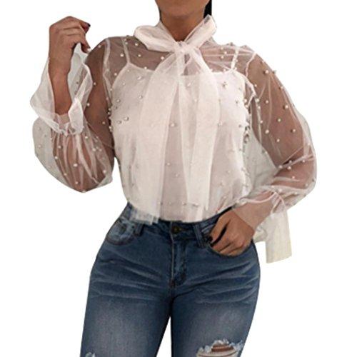 T-Shirt,Honestyi 2018 Neueste Modell Damen Perspective Net Garn Nagel Perlen Bluse Spitze Spleißen Mode V-Ausschnitt Oberteile Lange Ärmel Hemd Pullover Streetwear T-Shirt Tops (L, Weiß) (T-shirts Rock Vintage Classic)