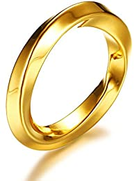 Ueice Anillo de compromiso de acero inoxidable pulido con forma de anillo de boda
