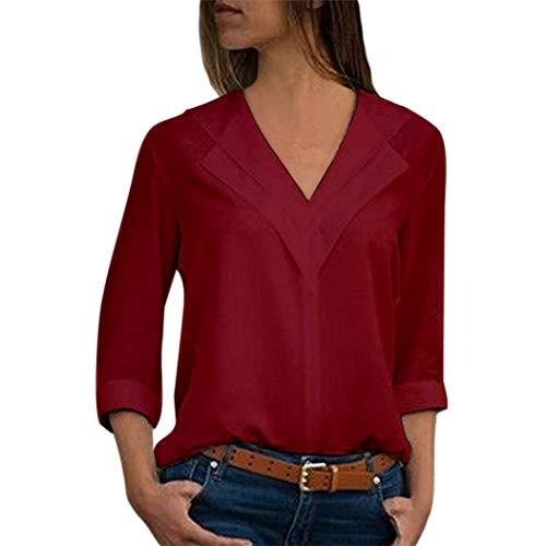 JURTEE Damen Herbst Oberteile Mode Chiffon Solide T-Shirt Büro Einfach Rollenhülle Bluse Tops(XX-Large,Wein Rot)
