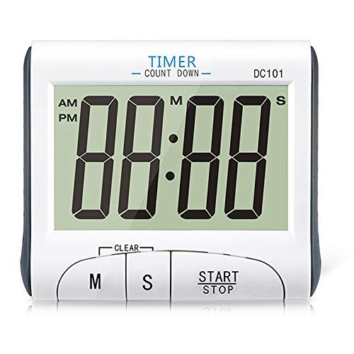 XREXS Großes Anzeige Digitaler Küchentimer LCD Display Kurzzeitmesser Magnetisch Count Down Up Elektronischer Timer und Stoppuhr Laut Alarm Kochen Timer mit Standfuß (Batterien inklusive) Weiße DC101