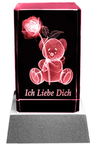 Kaltner Präsente Stimmungslicht - Ein ganz besonderes Geschenk: LED Kerze/Kristall Glasblock / 3D-Laser-Gravur Teddy Rose ICH LIEBE DICH Kristall-kerze