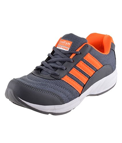 Hytech Men's Grey-Orange Fabric Casual Shoes-9 UK