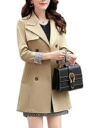 Damen Zweireihig Mantel Revers Slim Lang Trenchcoat Für Frühling Und Herbst