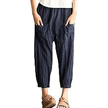 Overmal Femme Eté Boho Plaid Taille Haute Impression Trousers Longueur de  la Cheville Un Pantalon DéContracté abc2c341762a