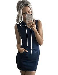 Culater Moda verano de las mujeres sin mangas del vestido ocasional con capucha