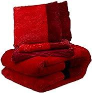 Luxury Winter 6 Piece Comforter Set -King Size, Red