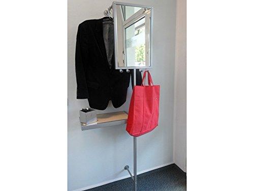 Wandgarderobe mit Spiegel und Ablage alufarben Sonderpreis