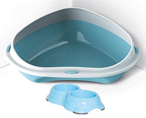 Extra große Jumbo-ECK-Katzentoilette hellblau + 0,3l Schalen Tief hohem Rand Loo Big Pfanne X L -