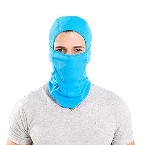 Elonglin Elonglin Unisex Adult Sturmhauben Damen Herren Mask Hood Dicke Warm Atmungsaktiv Mützen Winddicht Multifunktions Hut Blau One Size