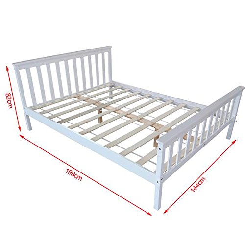 Traditional Italian White Wood Double Bed Frame 4FT6 Wooden Bedstead Poplar Plywood Slatted