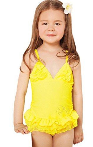 Smile YKK niña flor encaje halter Falbala Bikini Bañador Beachwear, XXL:Length 55cm Height 140cm Weight 30kg, Amarillo