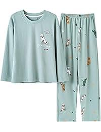 f4598bcaca Mmllse Cotton Frauen Homewear Grüne Pyjama Zweiteilige Set Pyjamas Dressing  Schlaf Nachtwäsche Hund Print Langarm-