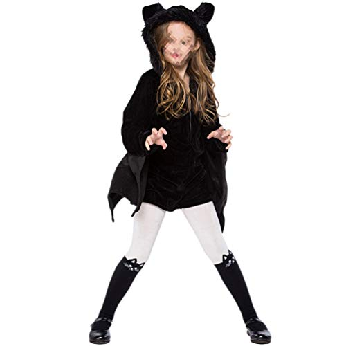 Mädchen Süße Vampir Kostüm - Happyyami Kinder Mädchen Vampir Fledermaus Kostüm Halloween Tier süß dress up Kinder gemütliche Fledermaus Kleid (Xs)