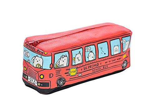Scrox 1x Estuche para Lápices Canvas Lienzo Autobús Estuches Escolar Papelería Kawaii Dibujos Animados Coche Estuche Chico Escritorio Papelería Regalos Cumpleaños Niños (Rojo)
