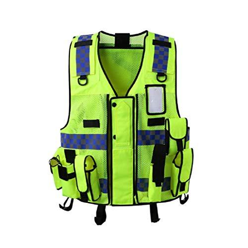 GST&GST Warnweste Sicherheitweste Mit Taschen, Unfallweste Pannenweste Mit Reflektorstreifen Und Reißverschluss, Ideal Für Handwerker, Bauarbeiter -