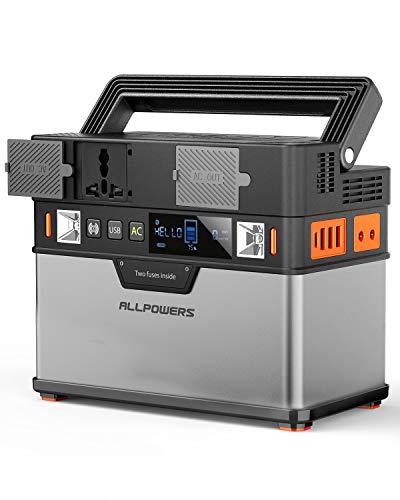 ALLPOWERS Tragbarer Generator 372Wh 220V Solar Stromerzeuger AC Steckdose 12V DC und USB C Solarbatterie Tragbarer Solar Wechselrichter Aufgeladen durch Solarpanel/Steckdose/Auto/Powerbank