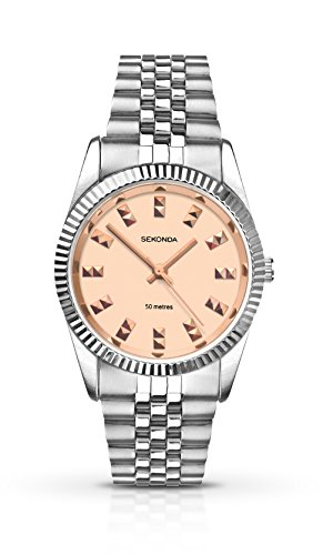 Sekonda Women's Quartz Watch with Rose Gold Dial Analogue Display and Silver Stainless Steel Bracelet 2088.27