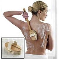 Oval Bath Brush, Long reach wooden handle, Removable Head