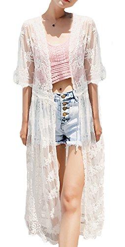 Jusfitsu Damen Sommer Spitzen Bluse Tops Strand Badeanzug Bedecken Pareos Kimono Cardigan Strandkleid