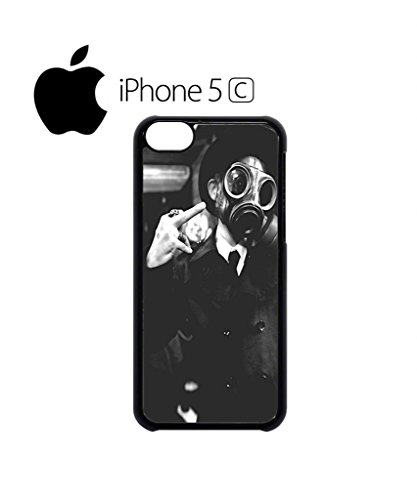 Gas Mask Riot Finger Rude Attitude Mobile Cell Phone Case Cover iPhone 5c Black Weiß