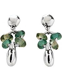 """UNO de 50 """"Raices"""" PEN0553VRDMTL0U - Pendientes para mujer con piezas bañadas en plata y cristales de tonos verdes."""