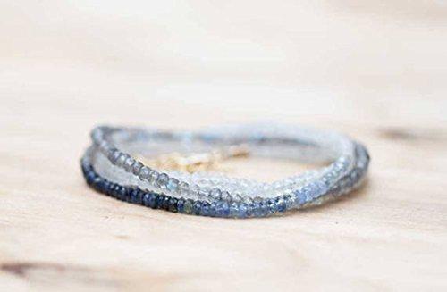 Rilievo lungo labradorite, pietra di luna arcobaleno e zaffiro blu con gemme, braccialetto a fascia, stratificazione labradorite collana 3-3.5mm 83,8cm