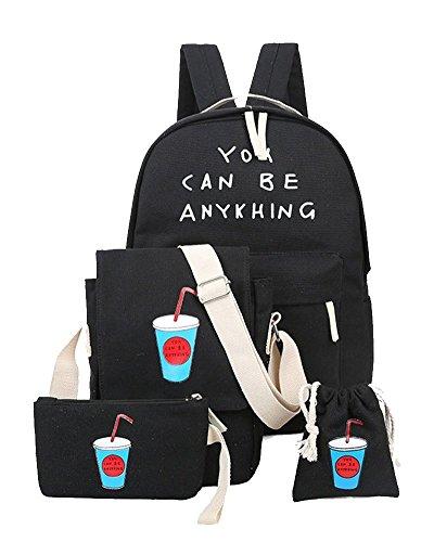 Imagen de yilianda niña bolsa de lona moda set de 4 piezas  + bolso de bandolera + billetera + pequeño bolsillo  mujer para escolar negro