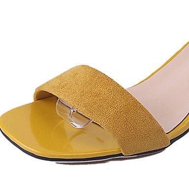 LvYuan Da donna Sandali PU (Poliuretano) Primavera Estate Fiocco Cerniera Quadrato Nero Beige 5 - 7 cm beige
