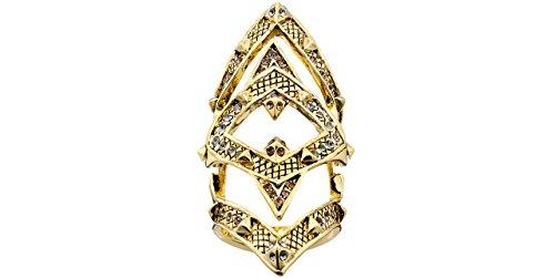 House of Harlow 1960 Anello articolata, tastierino Jaws, colore: doratura liquida oro 14 carati, brillante, con pendente di topazio, taglia 54