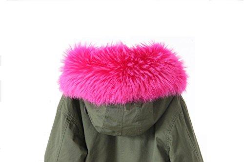 XXL Pelzkragen Fellkragen Kapuze Parka Schal Mantel ECHTPELZ mehrere Farben Pink