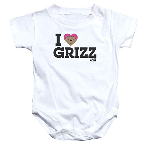 We Bare Bears - - Grizz Onesie Coeur Enfant, 12 Months, White