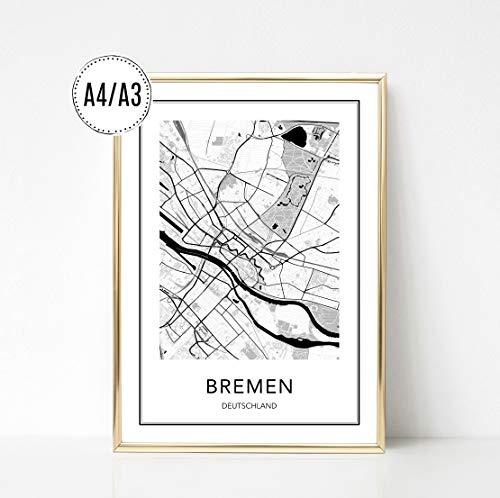 Poster Karte BREMEN, Stadtplan, City Map, Kunstdruck, Print, Wandbild, schwarz weiss, minimalistisch, modern, Format: DIN A4 / DIN A3