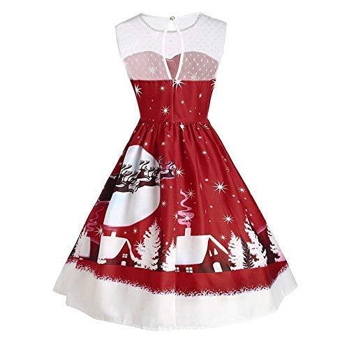 EU40 Robe de balançoire asymétrique vintage pour femme, à col en V et imprimé à manches longues et à manches longues pour femmes (Color : Wine Red, Taille : M)