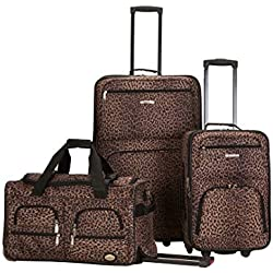 Rockland - Juego de maletas, leopardo (Marrón) - F165-LEOPARD