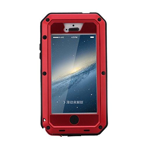 Étui iPhone 5, iPhone 5S Coque r-just étanche anti poussière et anti chocs pare-chocs [Protection intégrale anti-rayures] Camouflage étui en métal pour Apple iPhone 5/5S/5C rouge