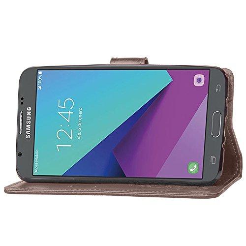 EKINHUI Case Cover Double Magnetic Back Sucktion Retro Style PU Leder Flip Stand Case mit Kickstand und Wallet Beutel Funktion für Samsung Galaxy J5 2017 ( Color : Black ) Gray