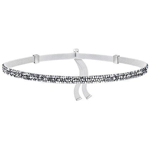 (Swarovski Damen-Kette ohne Anhänger Leder Kristall weiß 30 cm - 5255055)