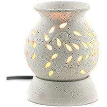 BRAHMZ Ancient Matki Shape Electric Ceramic Aroma Oil Diffuser with Bulb, 12 cm (White)